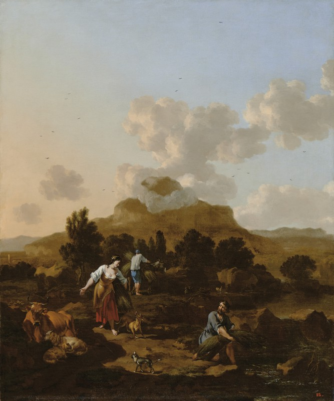 Italian Landscape with Peasants Gathering Rushes