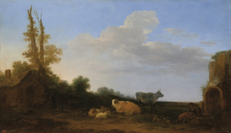 Landscape with Cows, Sheep, a Hut and Ruins