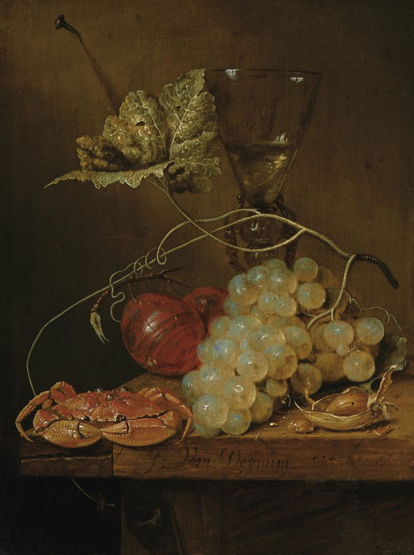 Still Life with Grapes, Wine Glass and a Crab