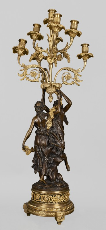 Eight-branch candelabra with figures of Zephyr and Flora