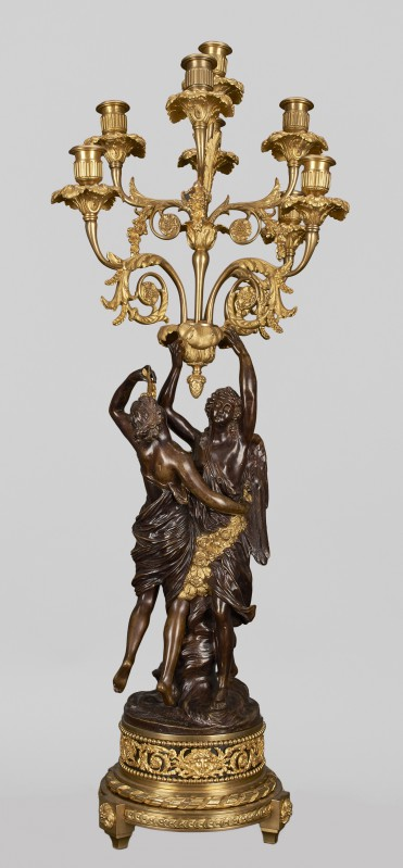 Eight-branch candelabra with figures of Cupid and Psyche