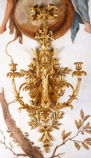 Five-branch applique with motif of a lyre and head of Apollo - 1