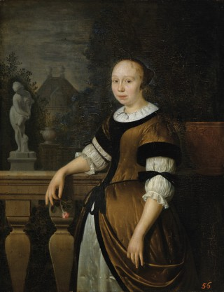 Portrait of a Young Woman Holding a Rose