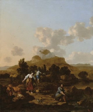 Italian Landscape with Peasants Gathering Rushes - 1