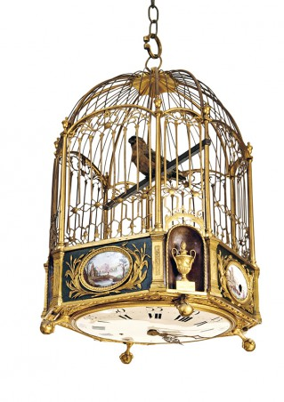 Musical clock in the form of a cage with bird - 4