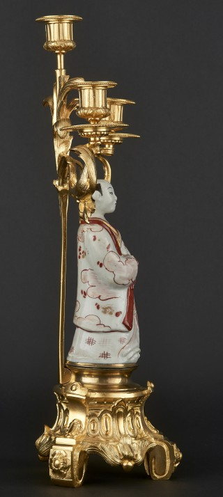 Three-branch candelabra with porcelain figurine of Japanese man - 3